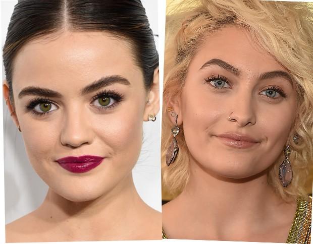 Lucy Hale e Paris Jackson são donas de sobrancelhas cheias (Foto: Getty Images)