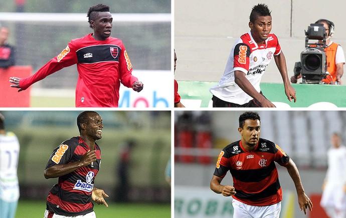 montagem Flamengo Negueba, Muralha, Renato Santos, Vinícius Pacheco (Foto: Editoria de Arte)