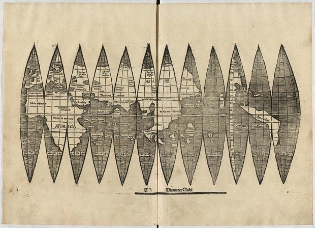 Mapa desenhado por Martin Waldseemüller em 1507 (Foto: LMU/AFP)