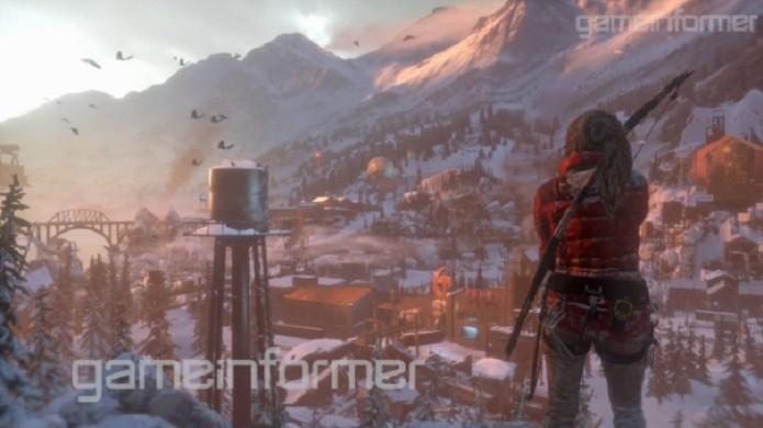 Rise of the Tomb Raider e uma vila siberiana (Foto: Reprodução/GameInformer) (Foto: Rise of the Tomb Raider e uma vila siberiana (Foto: Reprodução/GameInformer))