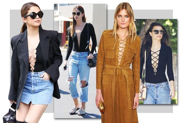 Decote com amarrações: a mania da vez entre as tops e fashionistas  (Foto: Reprodução)