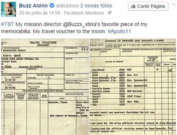 Buzz Aldrin posta foto de formulário de viagem à Lua, quando foi pela missão Apollo 11, em 1969 (Foto: Reprodução/ Facebook/ Buzz Aldrin)