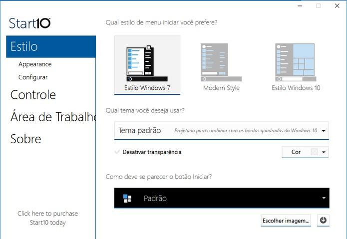 Start10 oferece interface em português e 30 dias de testes (Foto: Reprodução/Barbara Mannara)
