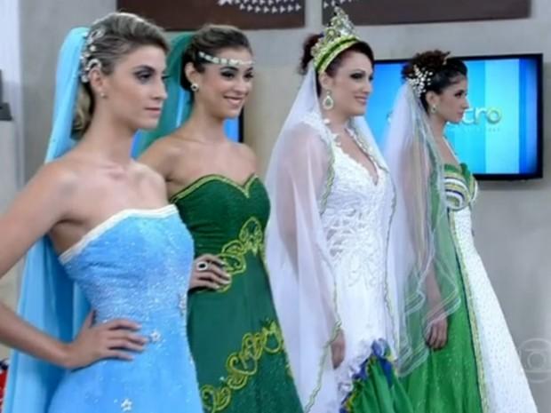 Vestidos de noiva inspirados na Copa do Mundo (Foto: Encontro com Fátima Bernardes/TV Globo)
