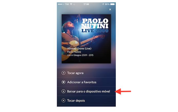 Baixando uma música para a biblioteca de usuário do Rdio para iPhone (Foto: Reprodução/Marvin Costa)