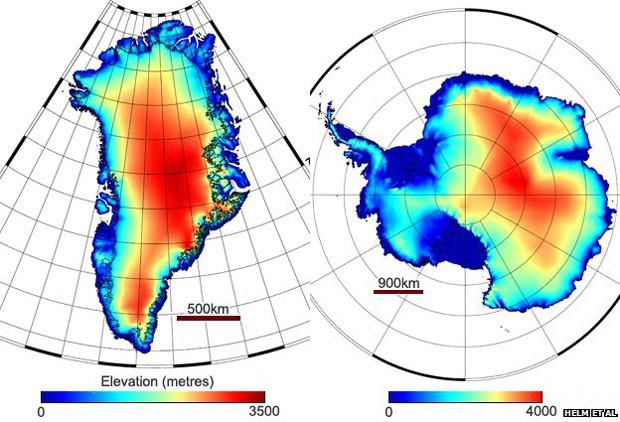 Os mapas mostram os resultados dos modelos de elevação gerados pela equipe alemã (Foto: BBC)
