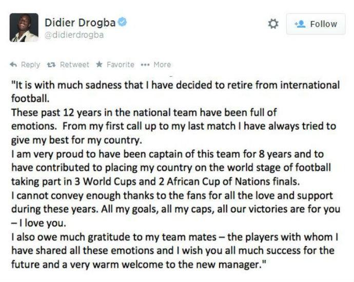 Drogba posta comunicado sobre sua decisão (Foto: Reprodução/Twitter)