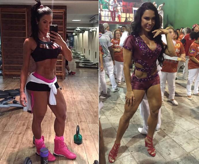 Gracyanne mostra boa forma durante ensaio na quadra de escola de samba (Foto: Arquivo Pessoal)