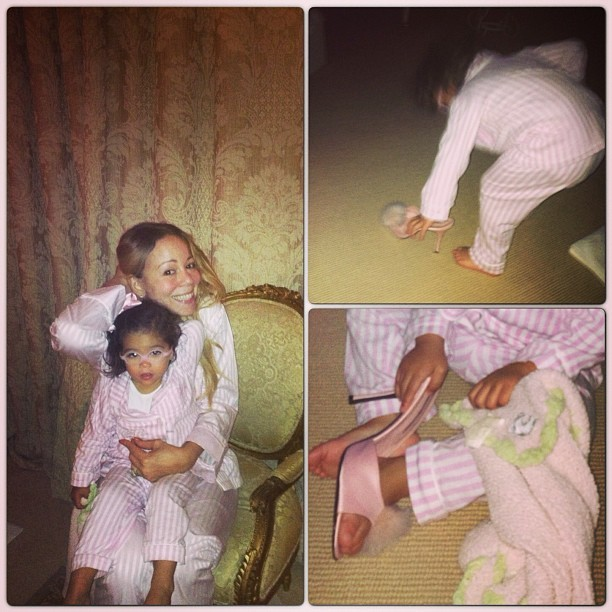 De pijama, Mariah Carey se diverte com a filha (Foto: Instagram)