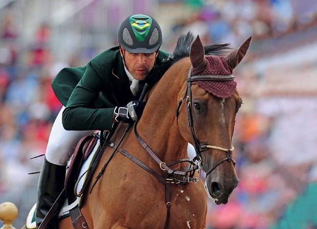 Stephan Barcha mota o cavalo Land Peter do Feroleto, que tem chances de competir nos jogos do Rio (Foto: Getty Images)