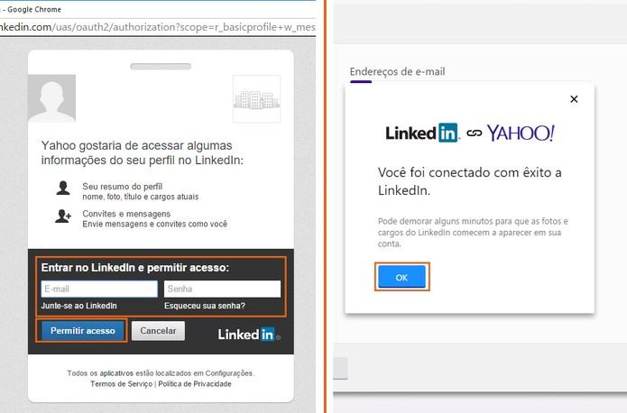 Confirme com as credenciais do LinkedIn (Foto: Reprodução/Barbara Mannara)