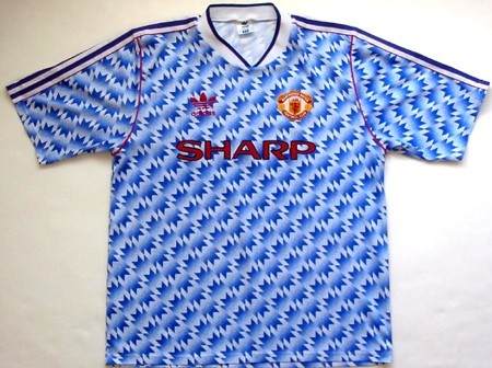 Camisa reserva do Manchester United em 1990 e 1992