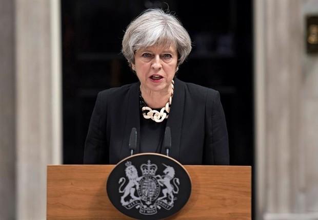 A primeira-ministra do Reino Unido, Theresa May, faz pronunciamento após novo ataque terrorista a Londres  (Foto: EFE)