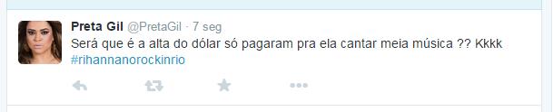 Sobre show de Rihanna no Rock in Rio (Foto: Reprodução / Twitter)