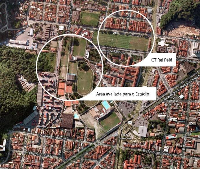 Montagem Terreno Estádio Santos (Foto: Editoria de arte)