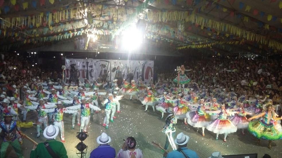 Junina São João foi a grande campeã entre as quadrilhas estilizadas que participaram do festival (Foto: Sérgio Henrique Santos/G1)