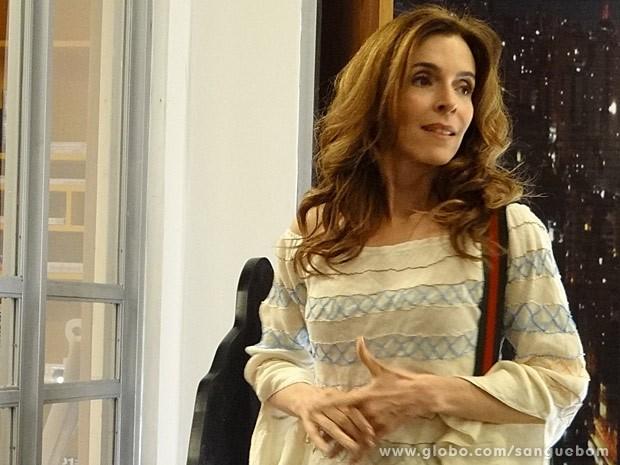 Irene vê Fabinho no maior papo com Mel (Foto: Sangue Bom / TV Globo)