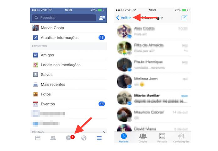 Alternando a visualização do bate papo do Facebook Messenger com o Facebook no iOS (Foto: Reprodução/Marvin Costa)