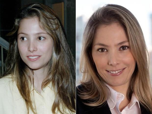 Antes e depois! À esquerda, Roberta Índio do Brasil na pele de Catty, de Explode Coração, e, à direita, em momento atual (Foto: CEDOC / TV Globo / Arquivo pessoal)