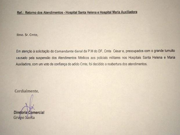 Cópia de email enviado por hospitais particulares do DF à PM, restabelecendo convênio médico (Foto: Polícia Militar/Divulgação)