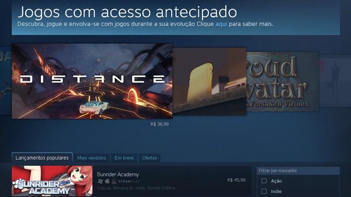 A plataforma Early Access permite acesso antecipado a jogos que ainda não estão completos (Foto: Reprodução)