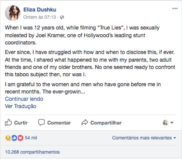 O relato compartilhado pela atriz Eliza Dushku (Foto: Facebook)