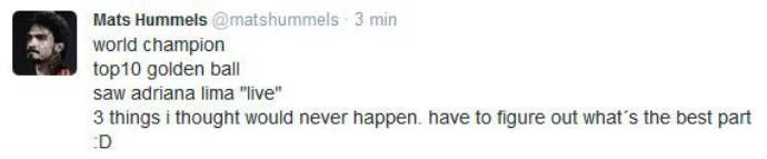 Hummels brinca sobre modelo Adriana Lima (Foto: Reprodução)
