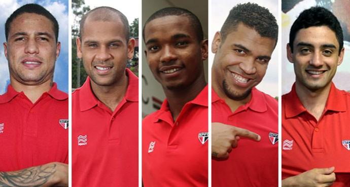 Montagem São Paulo, Bruno, Carlinhos, Thiago Mendes, Breno e Danie (Foto: GloboEsporte.com)