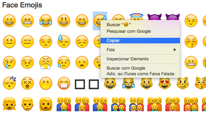 Copiando emoji para usar no Twitter (Foto: Reprodução/Helito Bijora)