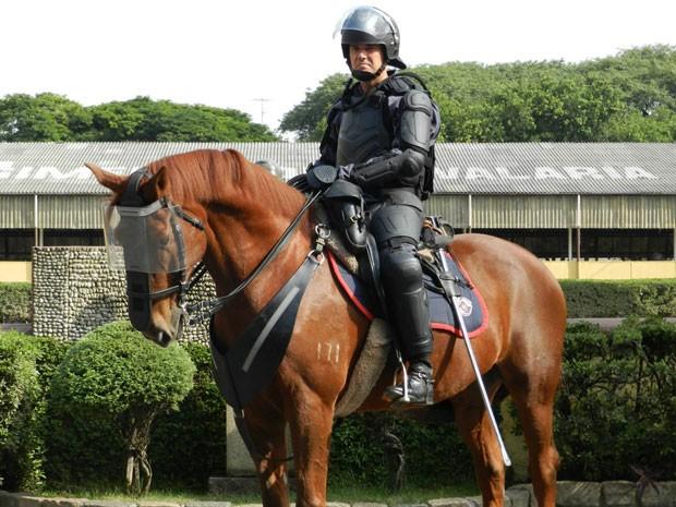 Policial e cavalo da cavalaria da PM de São Paulo vão usar armaduras para atuar em manifestações violentas (Foto: Assessoria de imprensa da Polícia Militar)