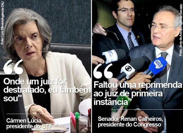 Cármen Lúcia pede respeito ao Judiciário; Renan diz que faltou 'reprimenda' a juiz (Foto: Luiz Silveira/Agência CNJ; Jane de Araújo/Agência Senado)