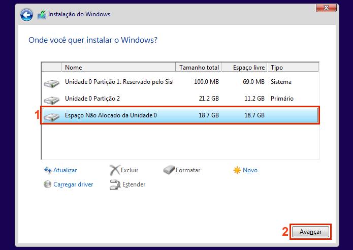 Selecionando a partição para instalar o outro Windows (Foto: Reprodução/Edivaldo Brito)