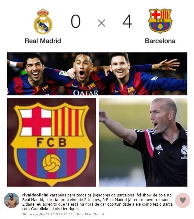 """BLOG: Rivaldo comemora """"treino de dois toques"""" do Barcelona e sugere Zidane no Real"""