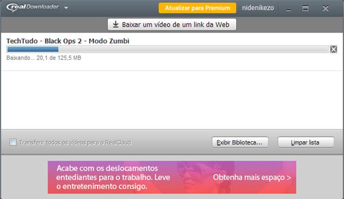 Aguarde o fim do download para reproduzir direto no RealPlayer (Foto: Reprodução/Paulo Alves)