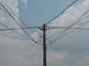 Poste de energia onde aconteceu o incidente (Foto: Colaborador/Arquivo pessoal)