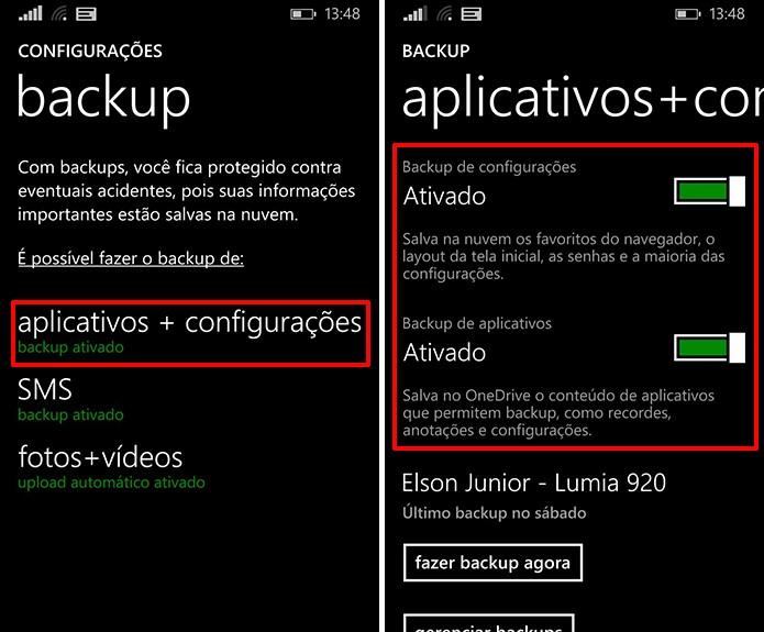 Windows Phone pode ter backup de configurações e aplicativos ativados para que dados sejam restaurados (Foto: Reprodução/Elson de Souza)
