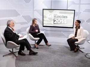 A candidata à Presidência da República pelo PSB, Marina Silva, é entrevistada no Jornal da Globo durante a madrugada desta terça-feira (2) (Foto: Caio Kenji/G1)