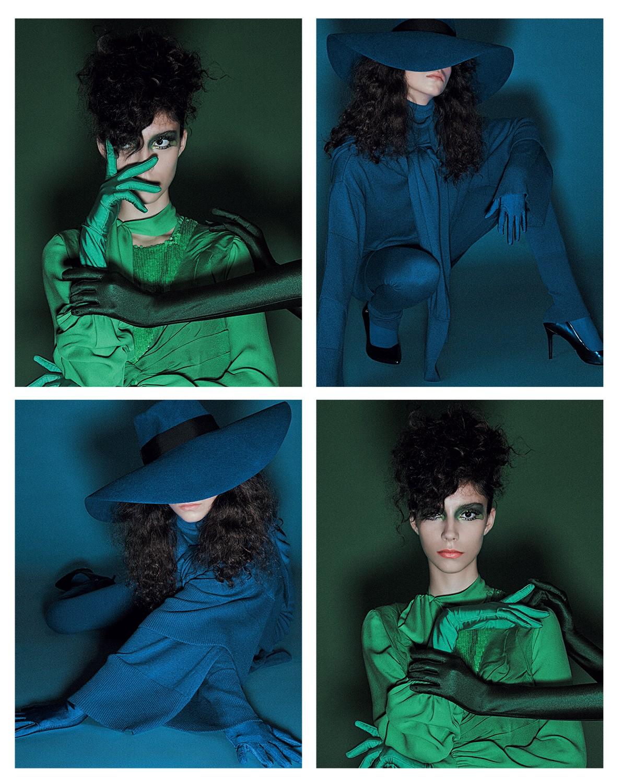 Na foto verde, vestido, R$ 14.280, e camisa, R$ 4.880, ambos Emilio Pucci. Na foto azul, body, R$ 4.297, blusa, R$ 3.497, sobressaia amarrada no pescoço, R$ 2.967, e calça, R$ 4.697, tudo Osklen. Chapéu, R$ 2.730, Gucci; escarpins, R$ 350, Carmen Steffens (Foto: Gil Inoue)