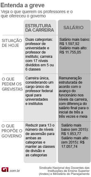 Compare a situação atual da carreira docente, a reivindicação dos professores e a proposta do governo (Foto: Editoria de Arte/G1)