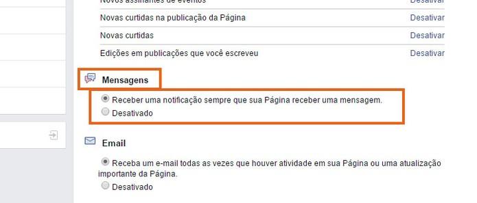 Receba notificações de mensagens privadas enviadas na Página do Facebook (Foto: Reprodução/Barbara Mannara)
