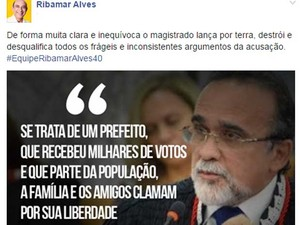 Ribamar Alves se manifesta por meio de rede social após ser solto no MA (Foto: Foto/Reprodução)