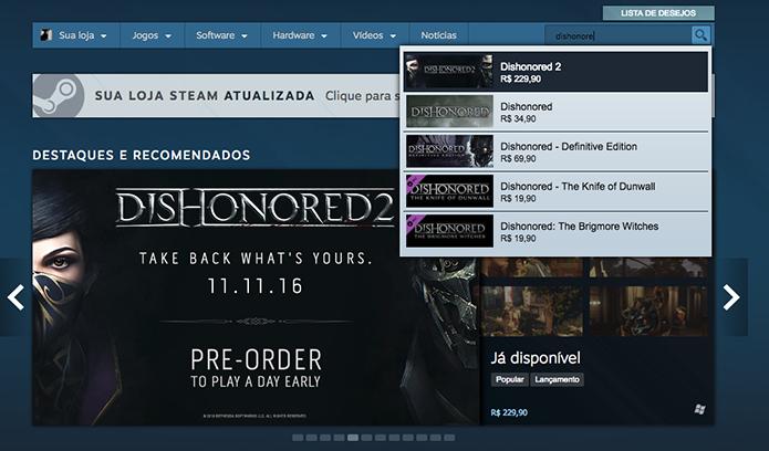 Busque o Dishonored 2 no Steam (Foto: Reprodução/Murilo Molina)