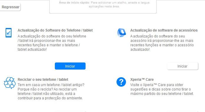 Tela de atualização do Sony PC Companion (Foto: Reprodução/Bruno Quevedo)
