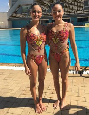 Luisa Borges e Duda Miccuci, do dueto do nado sincronizado do Brasil (Foto: Tiago Leme)