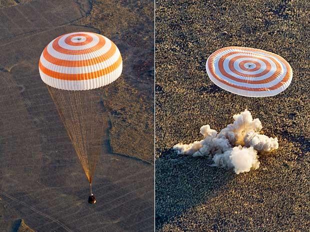 Nave Soyuz retorna à Terra com 3 tripulantes e a tocha olímpica de inverno. Pouso ocorreu nas estepes do Cazaquistão. (Foto: Shamil Zhumatov / Pool / AP Photo)