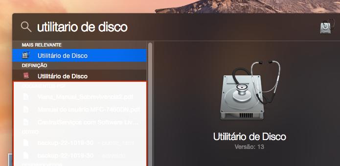 Localizando e executando o Utilitário de disco do OS X (Foto: Reprodução/Edivaldo Brito)