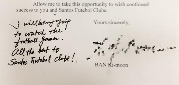 Carta Santos Ban Kin-moon secretário-geral ONU (Foto: Divulgação / Santos FC)