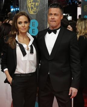 Angelina Jolie e Brad Pitt  no BAFTA, em Londres (Foto: Reuters)