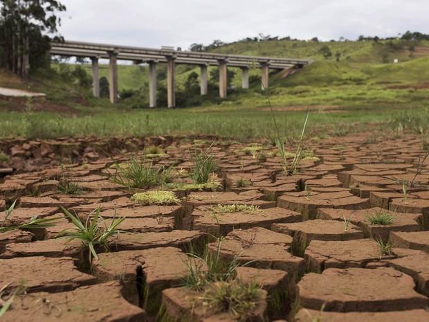 Chão rachado em área que costumava ser coberta por água em reservatório do Sistema Cantareira em Nazaré Paulista (SP) (Foto: Roosevelt Cassio/Reuters)