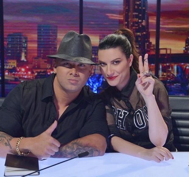Wisin e Laura Pausini no programa La Banda 2 (Foto: Reprodução)